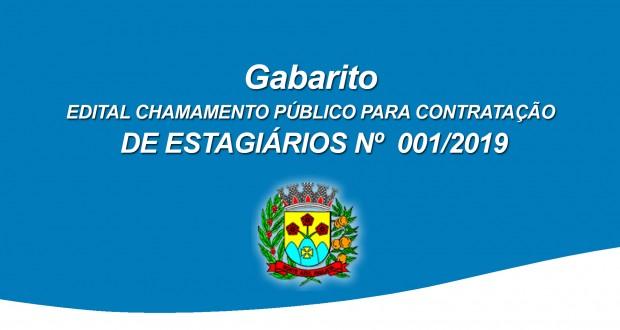 GABARITO DO CHAMAMENTO PÚBLICO PARA CONTRATAÇÃO DE ESTAGIÁRIOS 001/2019