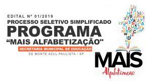 """PROCESSO SELETIVO SIMPLIFICADO – PROGRAMA """"MAIS ALFABETIZAÇÃO"""" – EDITAL Nº 01/2019"""