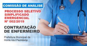 COMISSÃO DE ANÁLISE PARA PROCESSO SELETIVO SIMPLIFICADO EMERGENCIAL DE N° 002/2019