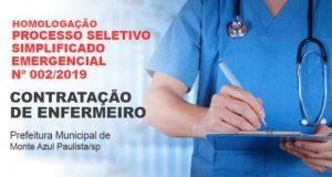 Homologação do  Processo Seletivo Simplificado Emergencial para  Enfermeiro 002/2019